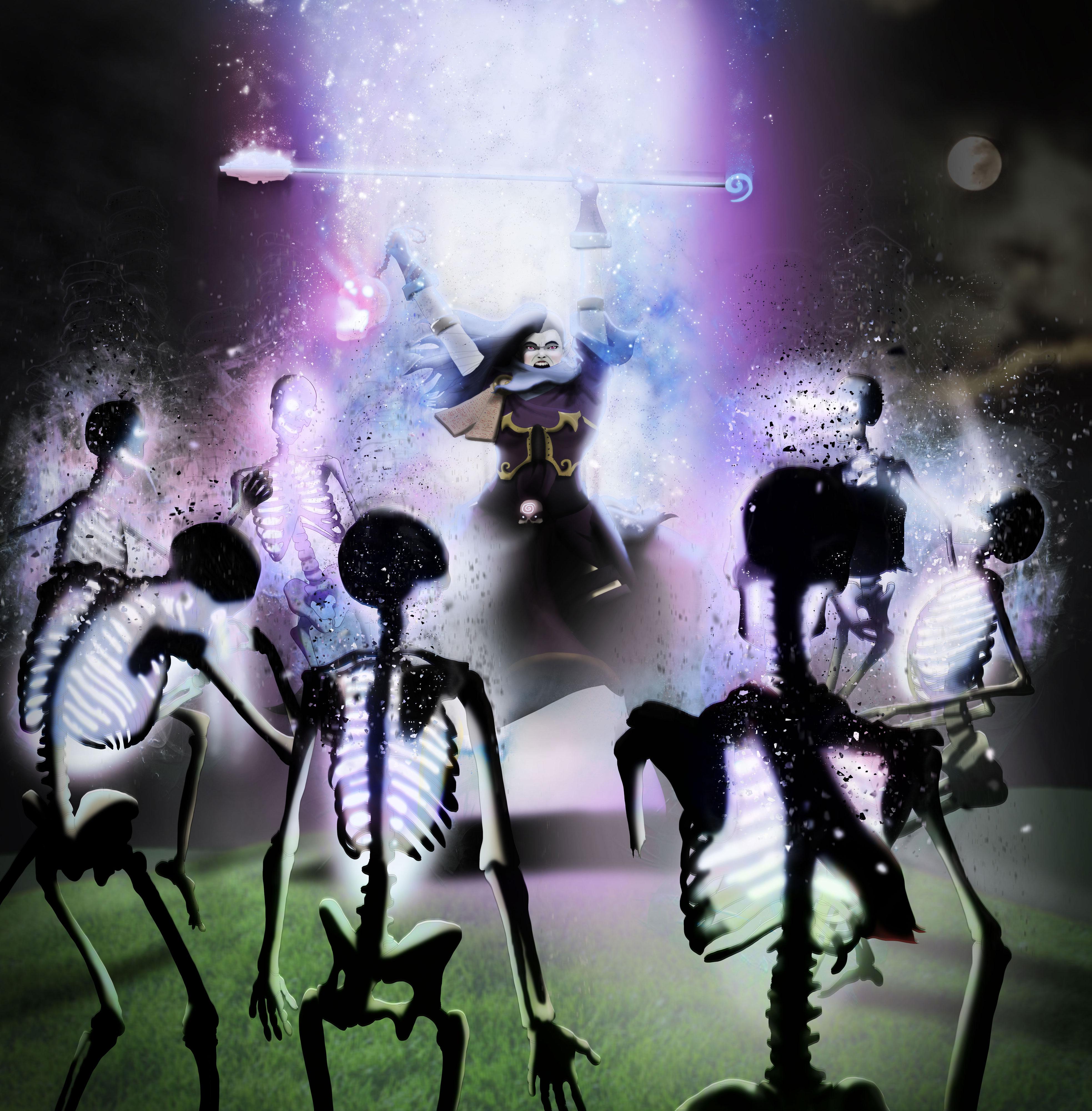 Digital Illustration Aljena Cleric Undead Magic
